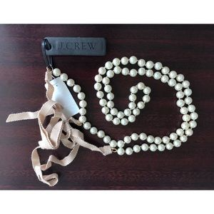 J. Crew Pearl Necklace with Blush Ribbon Tie